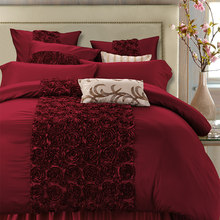 4/6Pcs Luxury Red Wedding Royal Bedding set Queen King size Bed set Satin Cotton Quilt/Duvet Cover Bed Sheet couvre lit de luxe(China)