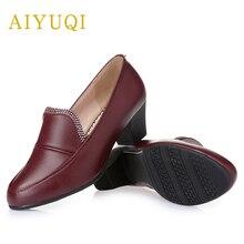 Sapatos de primavera aiyuqi feminino couro genuíno 2021 novo strass respirável tamanho grande confortável mãe sapatos femininos calçados