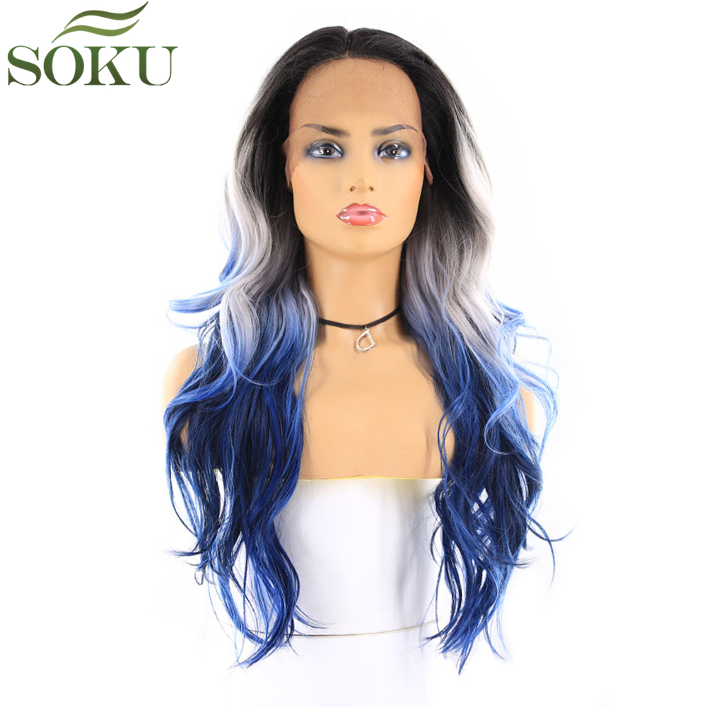 SOKU Wigs Wavy Glueless Lace-Front Blue-Color Ombre White Synthetic Black-Women Fiber