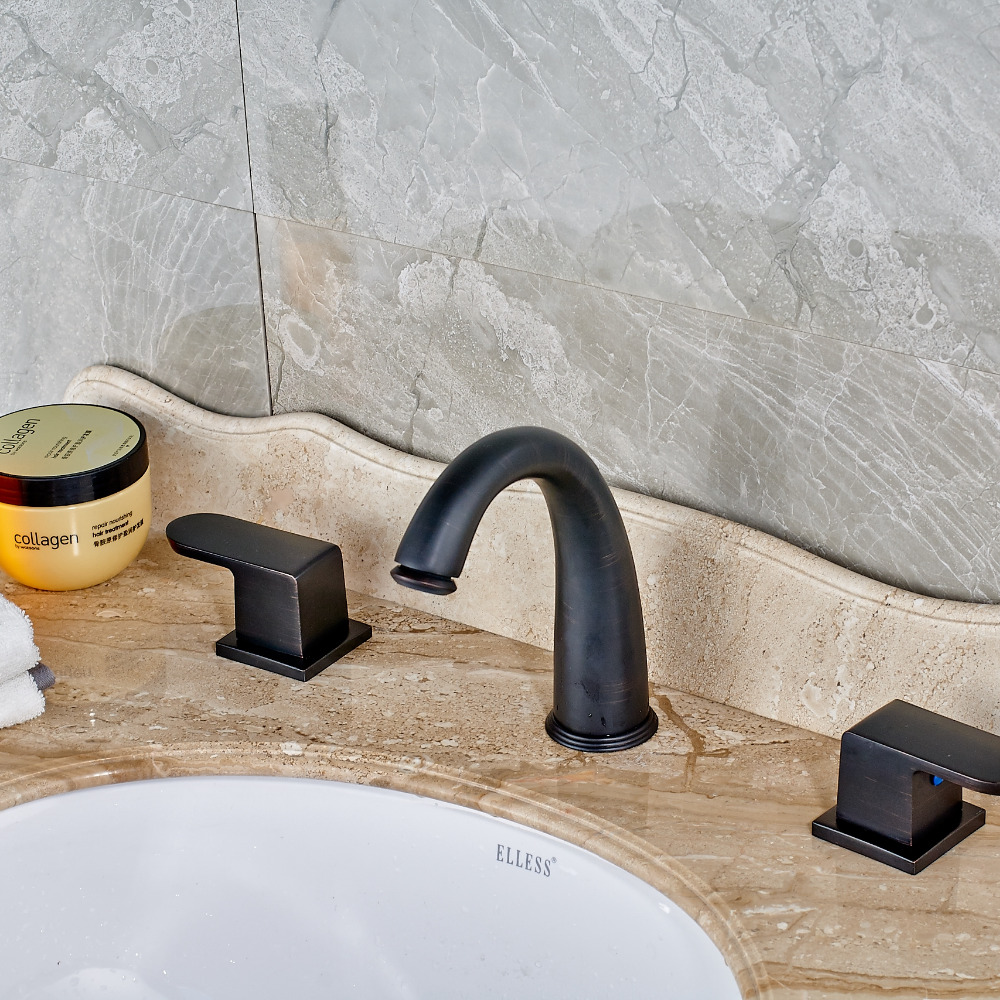 Modern Oil Rubbed Bronze Waterfall Bathroom Basin Faucet Mixer Tap Dual Handles Three Holes форма для бриошей pyrex flexi twist 33 19 см