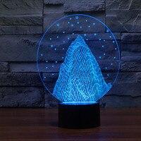 Frete grátis 3D DECOR neve luz montanha forma LED Night Light Lamp 3D illusion art humor lâmpada novidade Bulbing luz