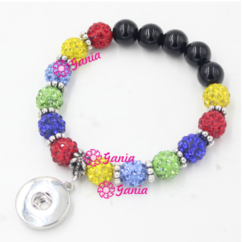10pcs Lot New Puzzle Autism Awareness Bracelet Crystal Bead With 18mm On Charm For Snap Jewelry Bijoux In Bracelets From