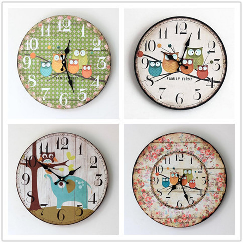 1 piece retro vintage rustic wooden home decorative, Animal clock,cartoon clock, clock designed on the wall 35cm