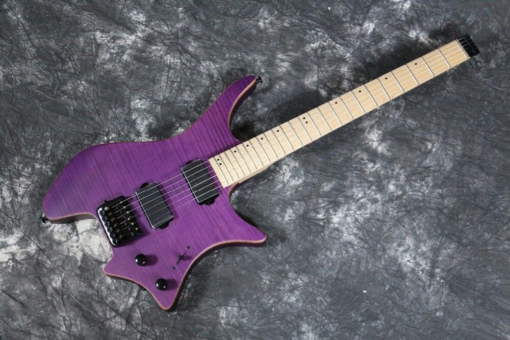 Qualità Made in ottone ponte a Sella top in acero fiammato chitarra Guitarra trans viola senza testa bolt on chitarra Elettrica Senza Testa