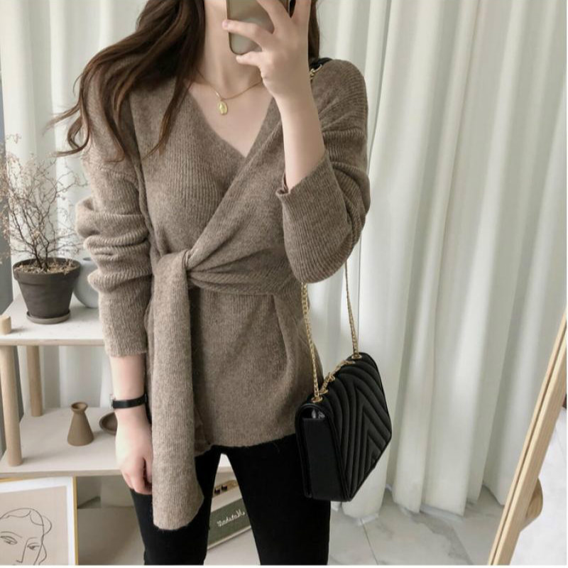 Women Autumn Sexy V Neck Pullover Lacing Sweater Female Jumper Long Sleeve Knitted Tops Pull Femme Hiver Sueter Mujer