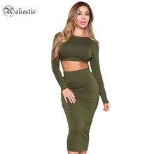 Alcestis Autumn font b dress b font Women 2 Piece Set Cotton Bodycon font b Dress