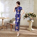 Free shipping Short Sleeve Floral China Qipao Dress vintage chinese style cheongsam dress Chinese Long dress 2 Style