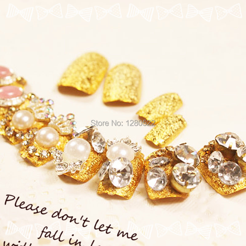 Nº24pcs/set Elegant Women Artificial Gold Fake Nails Wedding Pearl ...