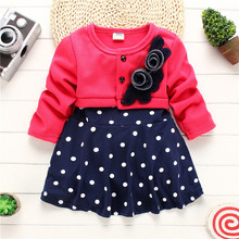 2018 Hot Selling Baby Girls Clothes Spliced Design Girls Dresses Name Brand Kids Dresses Spring Autumn Children Clothing Hsp093(China)