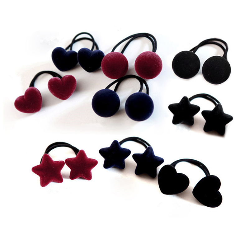 New Popular Korean Style Women Cute Hair Accessories Velvet Heart/Star/Ball Hair Rope Rubber Band   Headwear   For Girls