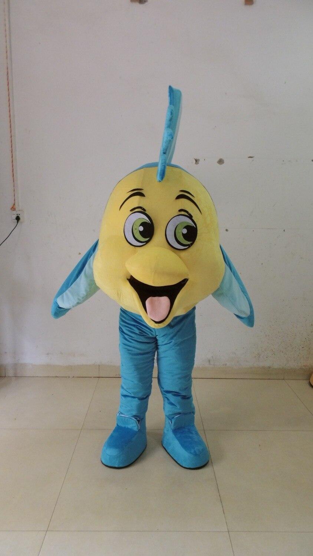 Fresh Yellow Blue Tropical Fish Aquarium COLORFUL FISH Goldfish Gold Mascot Costume With Green Wings Black Legs