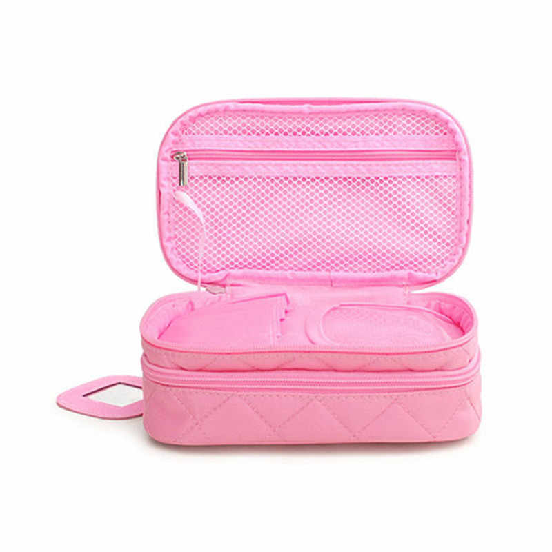 54ad676299d2f6 ... Diamond Lattice Double Layer Cosmetic Bags With Mirror Travel  Functional Makeup Pouch Toiletry Case Box Organizer ...