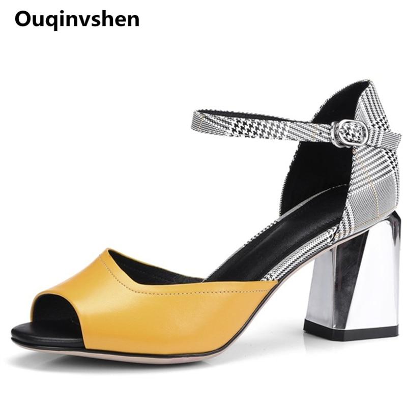 Ouqinvshen geel pastel pumps dames schoenen peep toe off wit groen - Damesschoenen