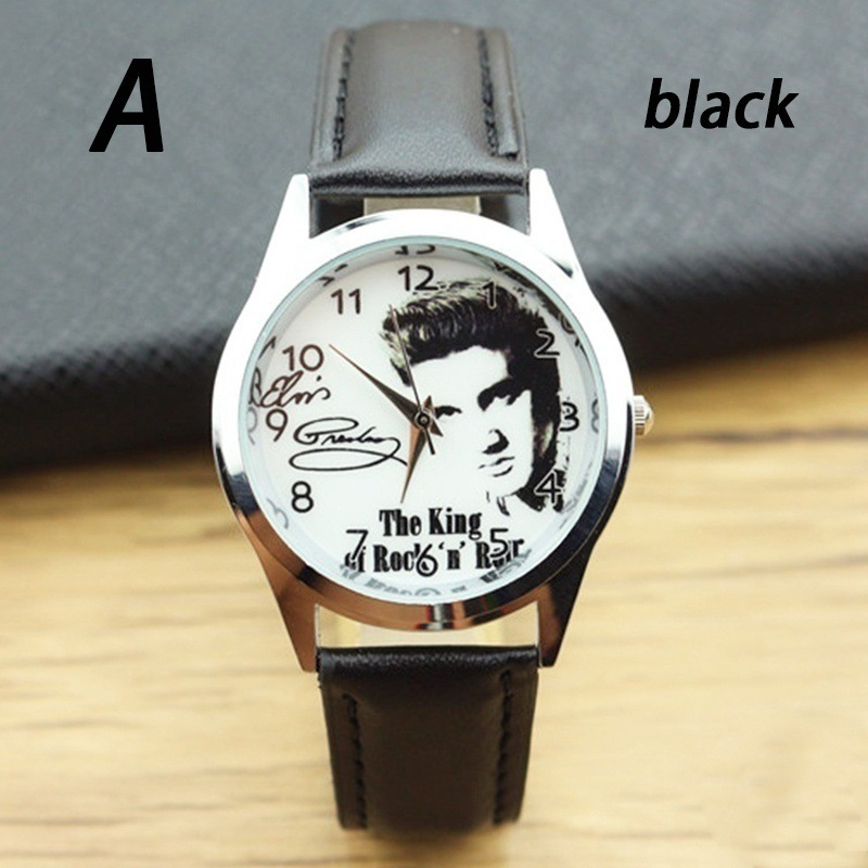 Elvis Presley Fashion Women Wrist Watch For Primary And Middle School Boy Girl Black Leather Band Color Picture Children Watch