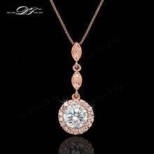 4b14e5516e5a Vintage Cubic Zirconia Micro Pave oro rosa Color plata collar y colgantes  de cristal joyería de la boda para las mujeres DFN428