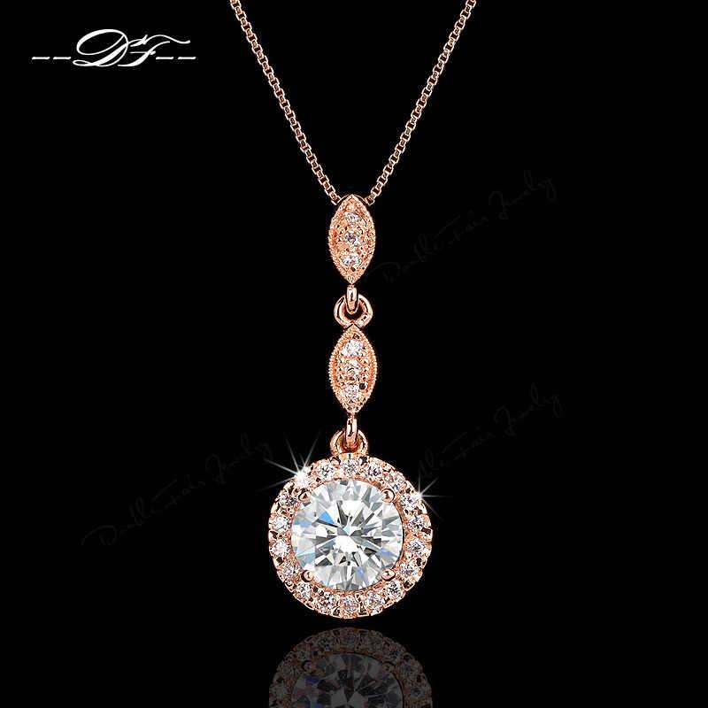Vintage Cubic Zirconia Micro Pave Mawar Emas/Warna Perak Kalung & Liontin Kristal Pernikahan Perhiasan untuk Wanita DFN428