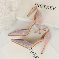 Bigtree High Heels Women Dress Shoes Fashion Wedding Shoes Rhinestone Heels Bridal Shoes Pink/Gold/Black/Silver Heels