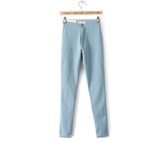2017 Spring New Women High Waist Sexy Slim Skinny Pencil Pants Jeans Casual Slim Trousers Pants 2017 new jeans women spring pants high waist thin slim elastic waist pencil pants fashion denim trousers 3 color plus size