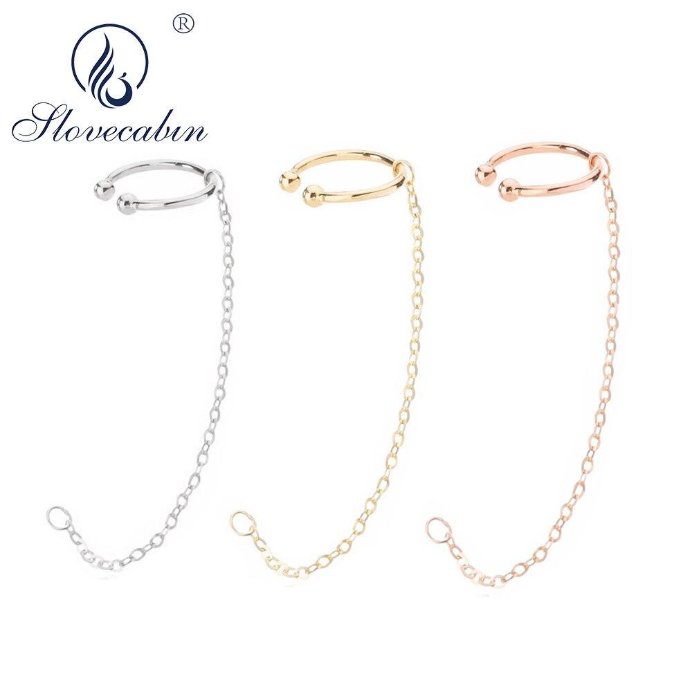 Slovecabin 925 Sterling Silver Earring Cuff Clip Earrings Without Piercing Safe Chain Earcuff Punk Rock Jewelly Jwelry For Women