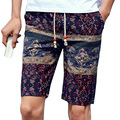 Men's Summer Casual Cotton Beach Printed Shorts with Elastic Waist  Bohemia Style for Boys Male Knee Length Short Pants Trousers