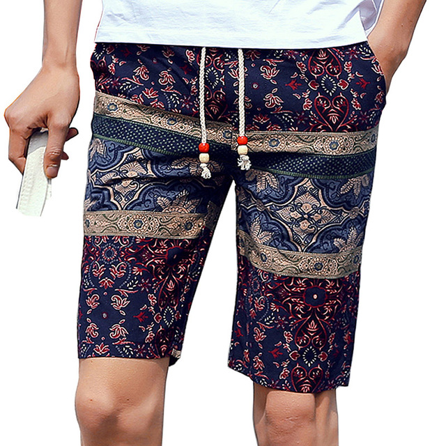Mens Summer Casual Cotton Beach Printed Shorts With Elastic Waist Bohemia Style For Boys Male Knee