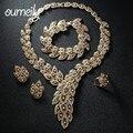 Conjuntos de Jóias Para As Mulheres OUMEILY Imitação Colar de Cristal Africano Beads Brinco Banhado A Ouro Pingente de Acessórios Vestido de Noiva