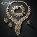 OUMEILY Jewelry Sets For Women Imitation Crystal Necklace African Beads Earring Gold Plated Pendant Wedding Dress Accessories