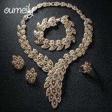 OUMEILY Africano Sistemas de La Joyería Para Las Mujeres Collar de Cristal de Imitación Perlas Pendiente Colgante Chapado En Oro de Accesorios Del Vestido de Boda
