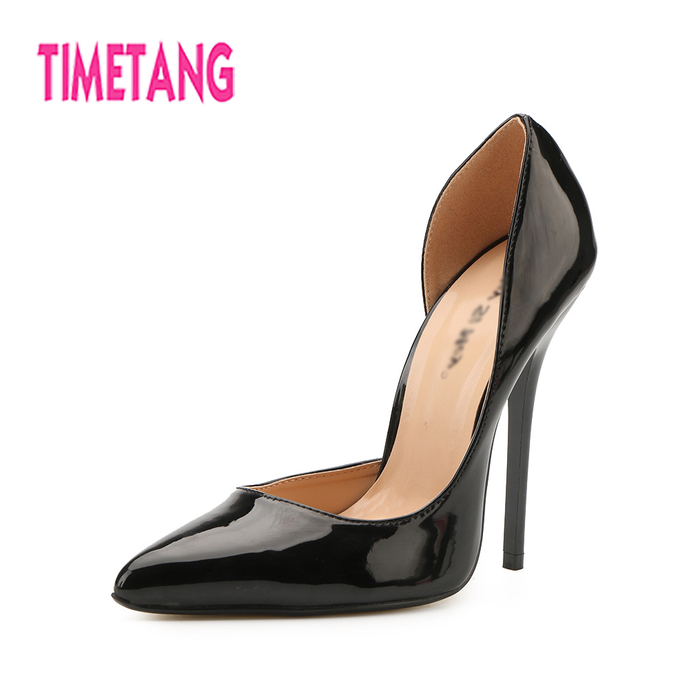 TIMETANG New Arrived Elegant OL Shallow Mouth Super High Thin Heel Woman Pumps Pointed Toe Drag Queen Shoes Plus Big Size 40-49 creativesugar elegant pointed toe woman