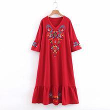2019 New Yfashion Women Bohemian V-collar Short-sleeved Embroidered Dress Medium-length
