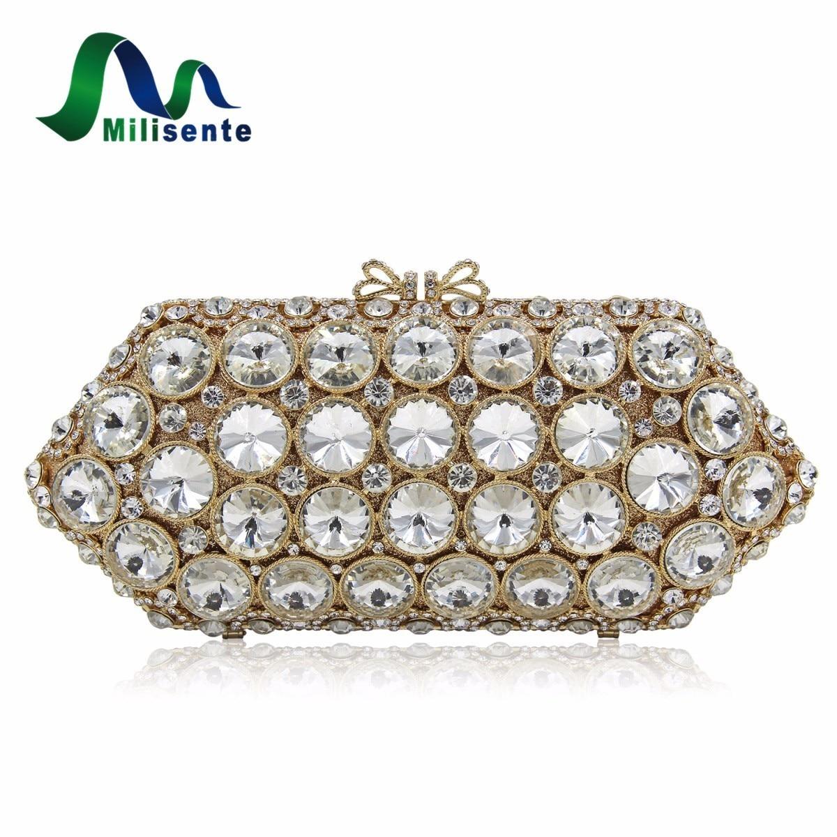Milisente Women Crystal Bag White Stone Wedding Party Clutch Bags Shoulder Long Chain Handbag Gold