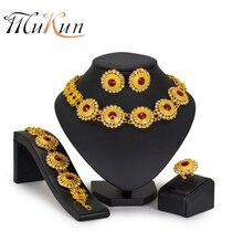 цена на MUKUN Bridal Gift Jewelry Sets Nigerian Wedding African Beads Jewelry Set Brand jewellery fashion dubai jewelry sets Wholesale
