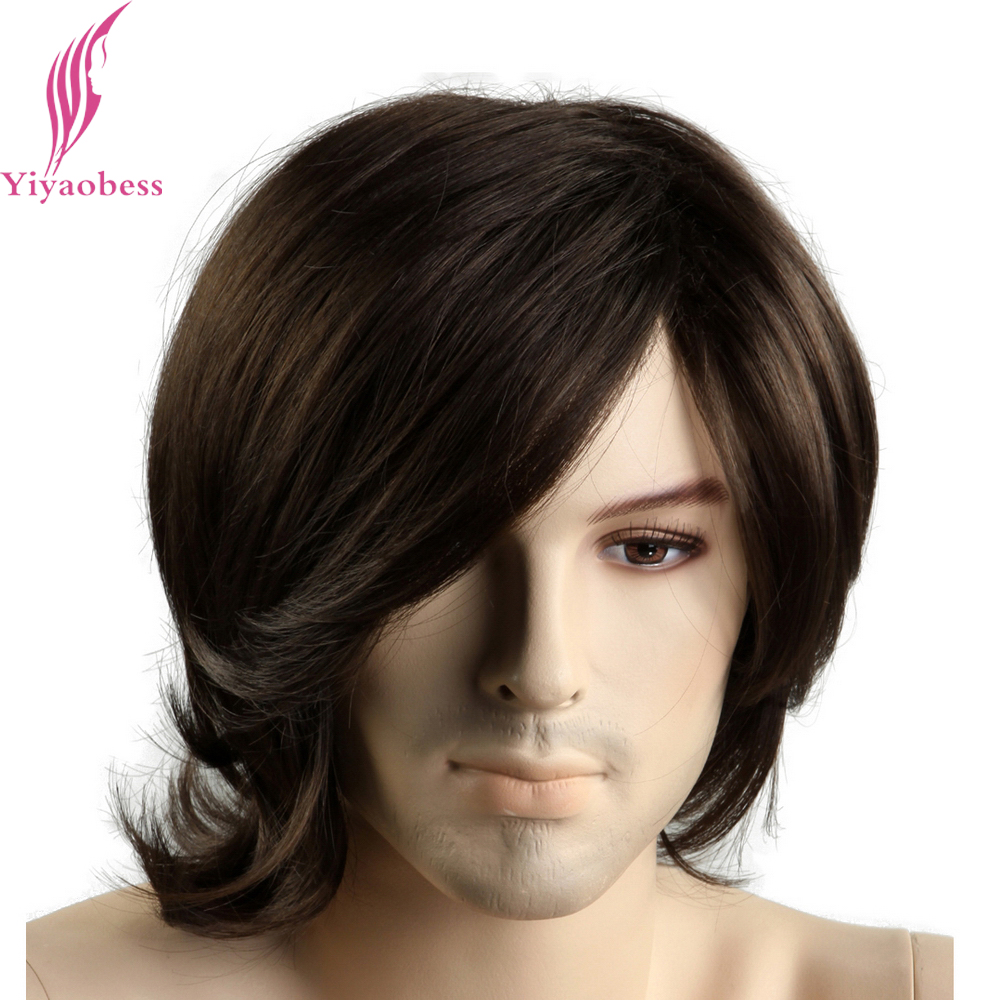 Yiyaobess 12inch Little Wavy Short Dark Brown Mens Wigs Heat Resistant Synthetic Hair European Male Wig