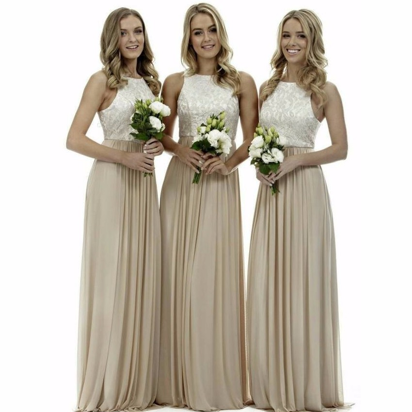 elegant simple long bridesmaids dress 2017 jewel chiffon a line wedding guest dress for party vestido de festa BN106 4