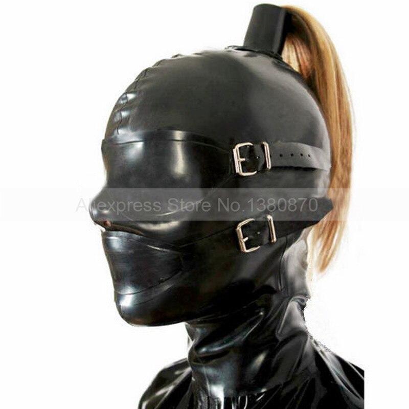 Effen zwarte latex kap Rubber masker Terug Rits Pull-through paardenstaartgat (geen haar) S-LM115