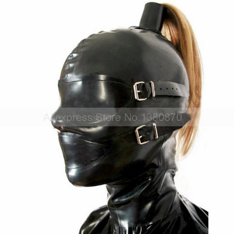 Solide Noir Latex Caoutchouc de Capot Masque Tirette-par Trou de Queue De Cheval (sans poils) S-LM115