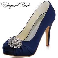 Free Shipping 2015 New Women S EP2015 PF Navy Blue Platform Stiletto Heel Rhinestone Almond Toe