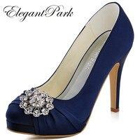 Free Shipping 2015 New Women S EP2015 PF Navy Blue Platform Stiletto Heel Rhinestone Almond Toe