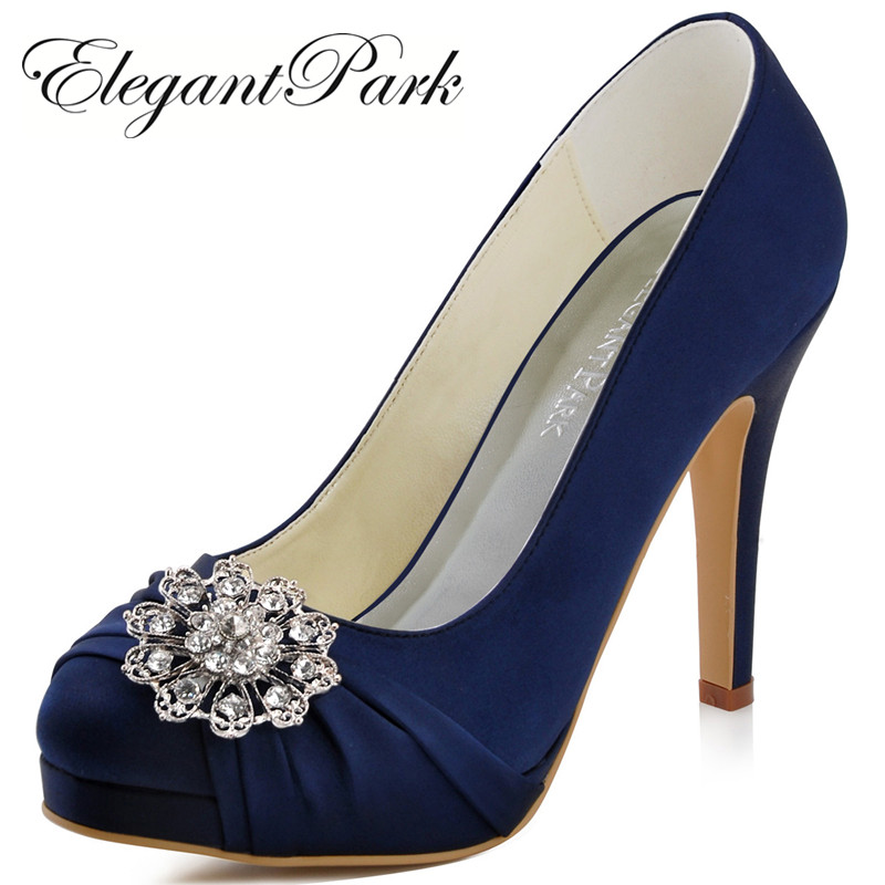 Woman Navy Blue Red High Heel Platform Wedding Shoes Rhinestone Satin Bride Lady Prom Party Bridal Pumps Pink Silver EP2015