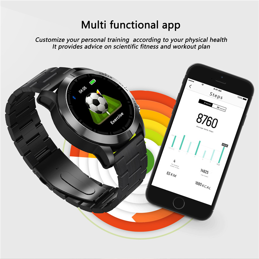 DTNO.1 S10 Smart Watch 1.3'' IP68 Waterproof Bluetooth 4.2 Smartwatch Heart Rate Monitoring Compass Sport Watch for Android iOS