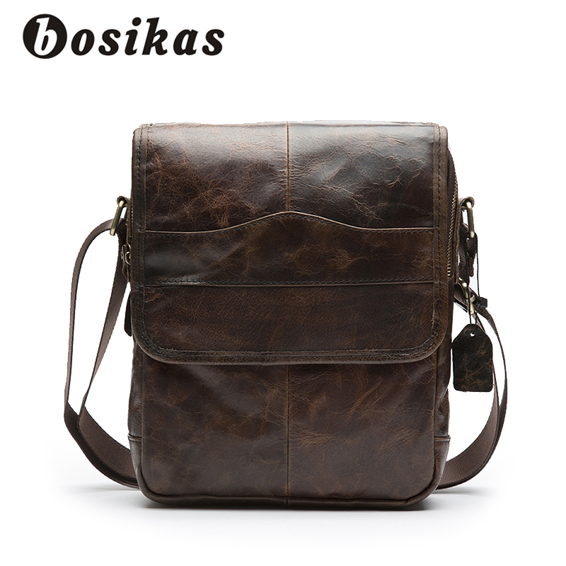 BOSIKAS Mens Bags Genuine Leather Male Crossbody Bags Mans Shoulder Bag Strap Small Casual Flap Men Leather Messenger Hasp Bag