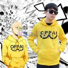 Anime One Punch Man Saitama Oppai Yellow Hoodie Sweatshirts Hooded Jacket Coat Cosplay Costumes Free Shipping