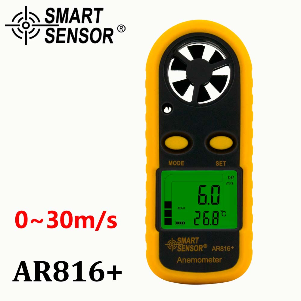 Pocket Wind Speed Gauge air flow Anemometer Thermometer Wind Speed meter Smart Sensor AR816+ Measuring Instruments High quality цена