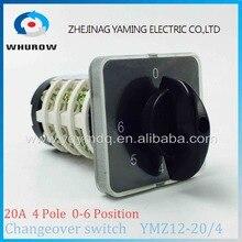 Поворотный переключатель ручка 6 позиция 0-6 ymz12-20/4 Универсальный электрическая Переход переключатель Cam 20A 690 В 4 раздел высокого качества