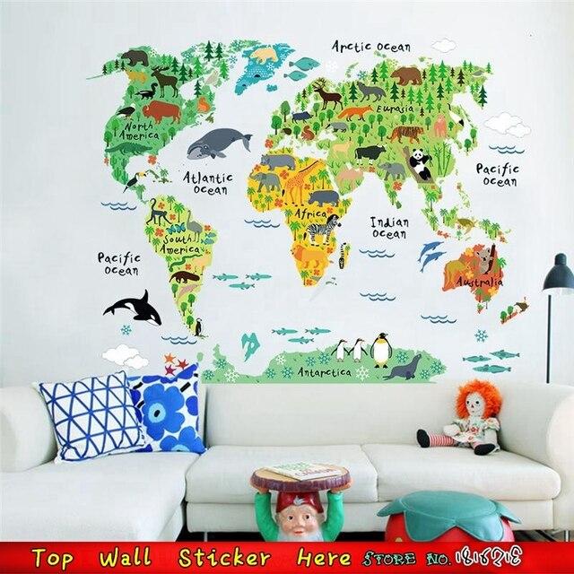Muursticker Wereldkaart Krijt.Kinderen Kamer Decor Voor Stijl Muursticker Wereldkaart Dieren Zoo