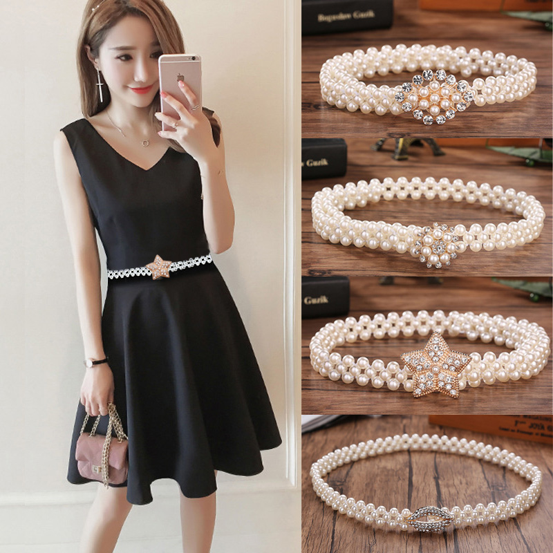 New Fashion Waist Elastic Buckle Pearl Belts For Women Strap Female Belt Accessories Dress Cintos Mujer Crystal Women Belt
