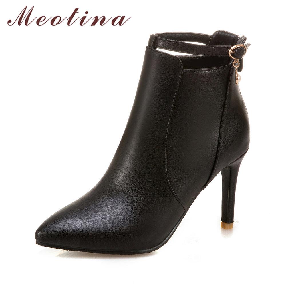 Meotina Women Boots Winter Ankle Boots High Heels Zip White Boots Ladies Autumn Shoes Pointed Toe Handmade Shoes Black Yellow high quality winter autumn ankle boots for woman high heels pointed toe shoes slip on womens short boots black ladies boots