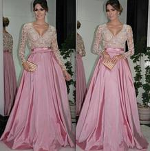 Pink and White Long Sleeve Prom Dress Sexy V Neck Lace Evening Gowns with Belt Elastic Satin A Line Women Formal