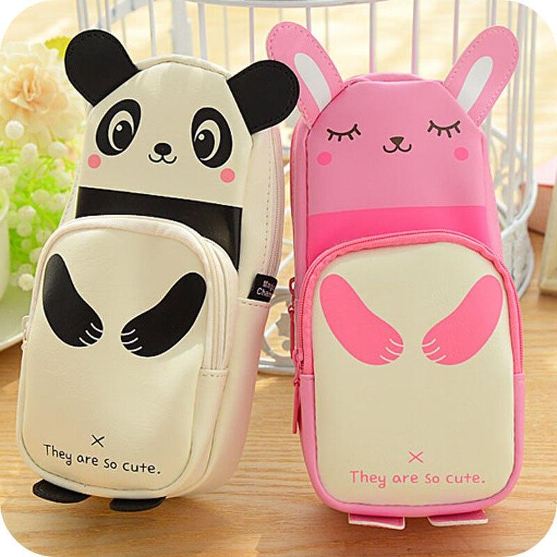 Kawaii Panda & Rabbit Large Capacity Pu Leather Pencil Case Stationery Storage Organizer Bag School Supply Escolar Papelaria