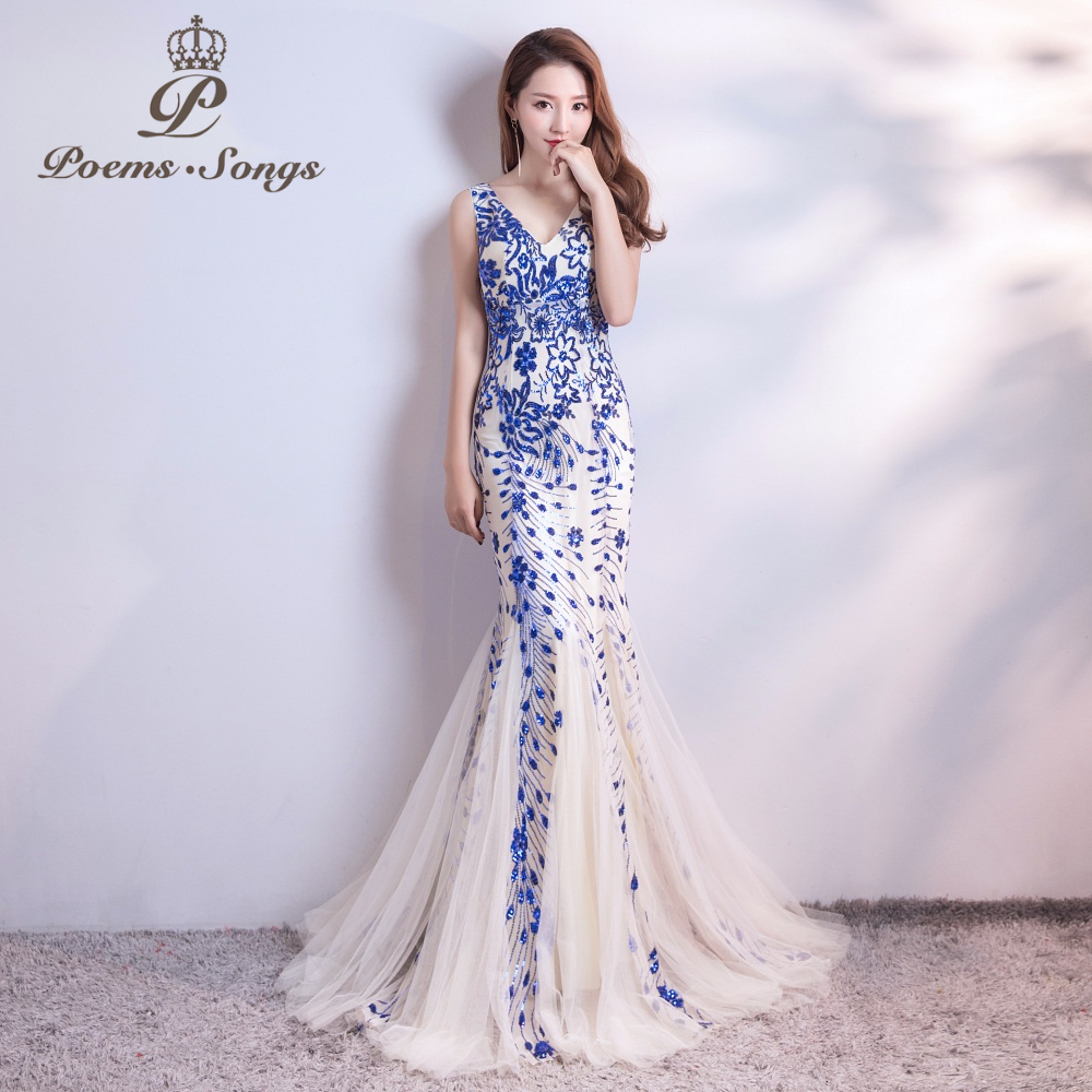 Poems Songs 2019  New Sequins Mermaid  Evening Dress Prom Gowns Formal Party Dress Vestido De Festa Elegant Vintage Robe Longue
